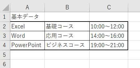 Excel_ドロップダウンリストの元の表