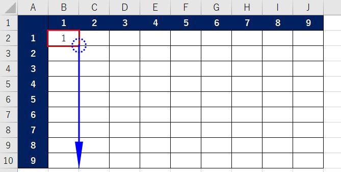 Excel_九九表オートフィル