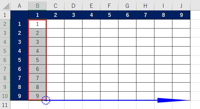 Excel_九九表オートフィル2