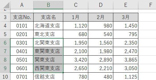 Excel_表の一部からshift