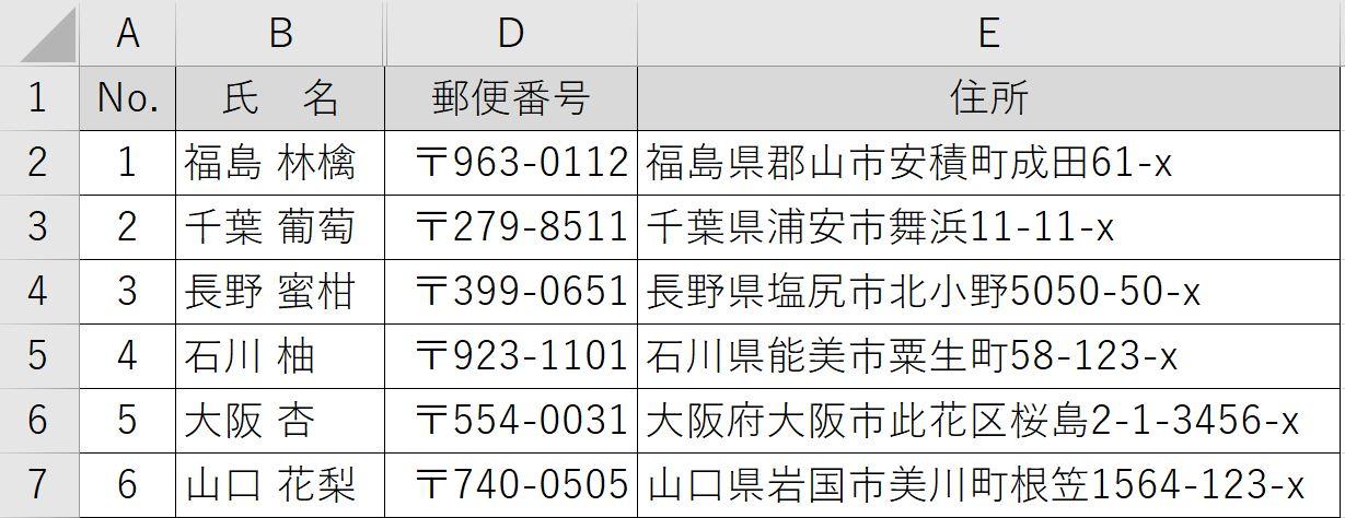 列非表示の表